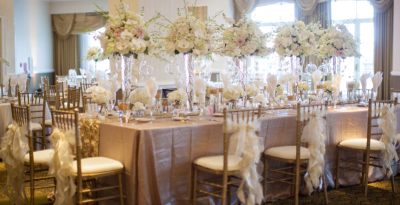 Luxury wedding head table floral decor